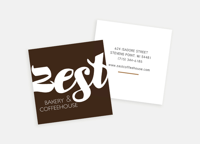 Zest Bakery & Coffeehouse business cards / Little Bison Studio